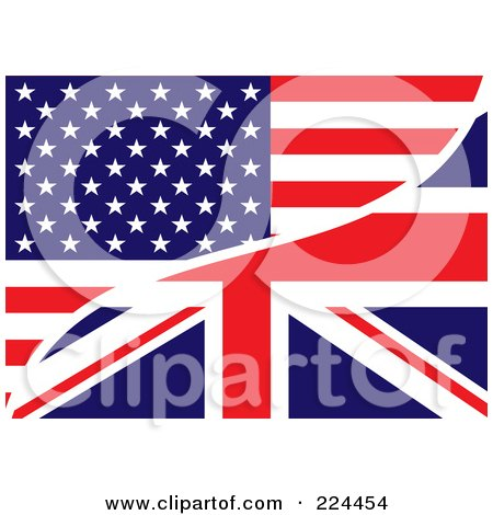 Royalty-Free (RF) Clipart Illustration of a Background Of A USA And UK Flag by michaeltravers