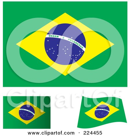 Royalty-Free (RF) Clipart Illustration of a Digital Collage Of Flat, Shaded And Waving Brazil Flags by michaeltravers