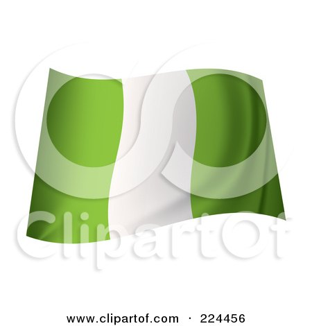 Royalty-Free (RF) Clipart Illustration of a Waving Nigerian Flag by michaeltravers