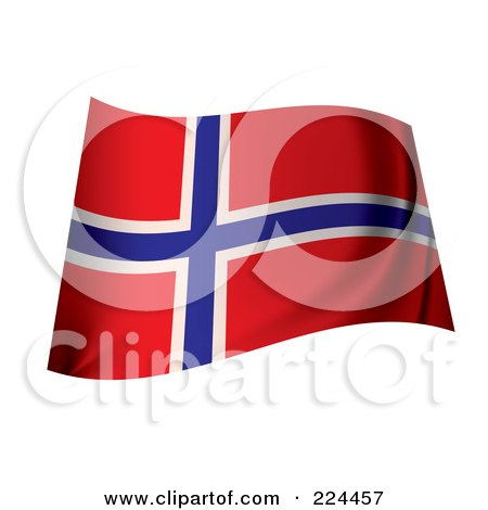 Royalty-Free (RF) Clipart Illustration of a Waving Norway Flag by michaeltravers