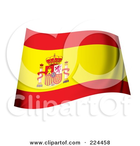 Royalty-Free (RF) Clipart Illustration of a Waving Spanish Coat Of Arms Flag by michaeltravers