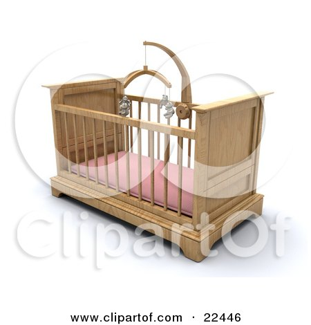 Clipart Illustration of a Wooden Girl's Baby Crib In A Nursery With A Pink Pad And Teddy Bear Mobile by KJ Pargeter