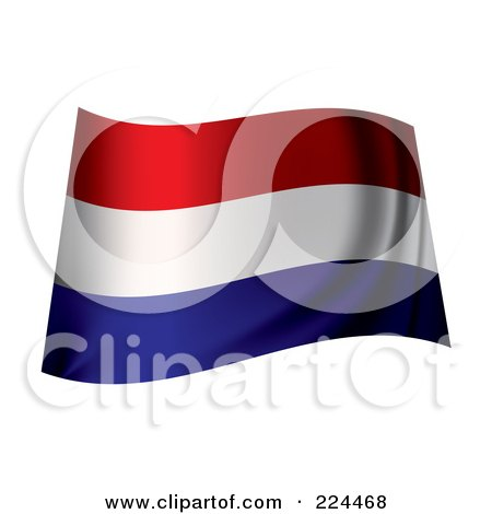 Royalty-Free (RF) Clipart Illustration of a Waving Holland Flag by michaeltravers