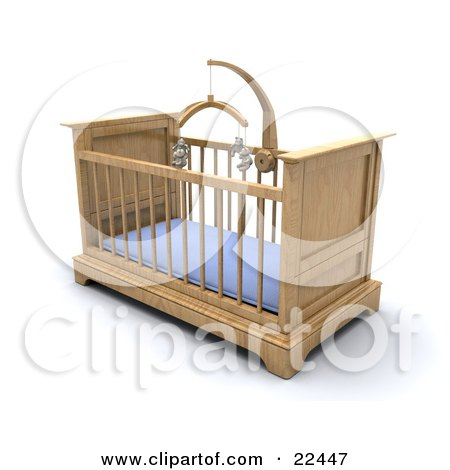 Clipart Illustration of a Wooden Boy's Baby Crib In A Nursery With A Blue Pad And Teddy Bear Mobile by KJ Pargeter