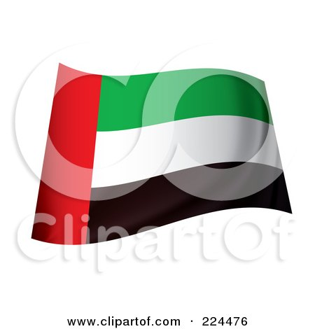 Royalty-Free (RF) Clipart Illustration of a Waving United Arab Emirates Flag by michaeltravers