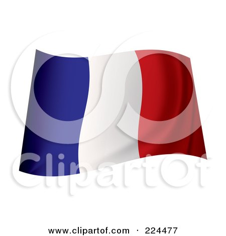 Royalty-Free (RF) Clipart Illustration of a Waving France Flag by michaeltravers