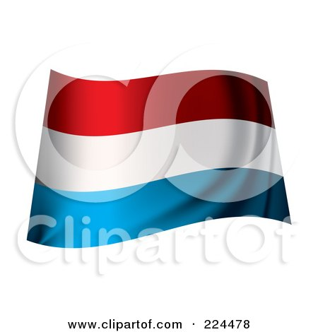 Royalty-Free (RF) Clipart Illustration of a Waving Luxembourg Flag by michaeltravers