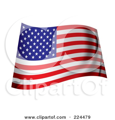 Royalty-Free (RF) Clipart Illustration of a Wavy Ripply USA Flag by michaeltravers