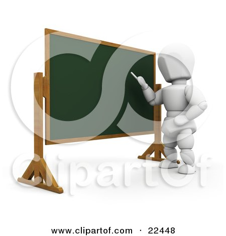 White Character Standing In Front Of A Chalkboard And Teaching A Class Posters, Art Prints