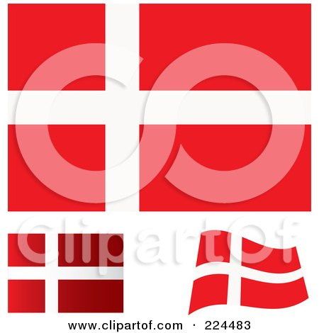 RoyaltyFree RF Denmark Flag Clipart Illustrations Vector - Denmark flags