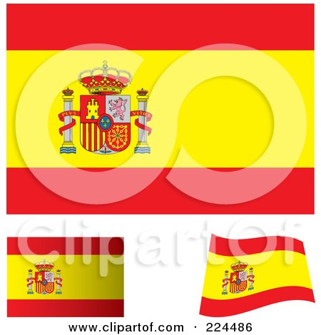 Royalty-Free (RF) Clipart Illustration of a Digital Collage Of Flat, Shaded And Waving Spain Flags by michaeltravers