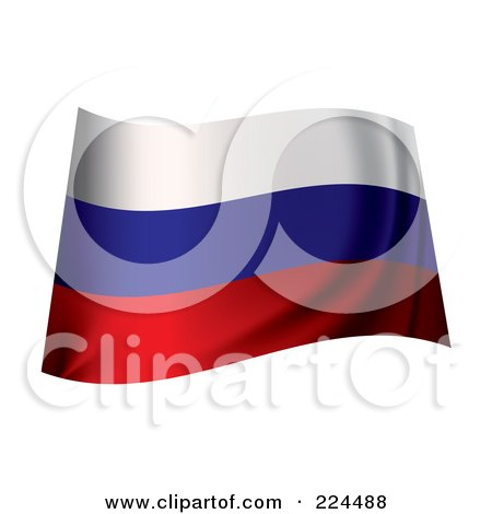 Royalty-Free (RF) Clipart Illustration of a Waving Russia Flag by michaeltravers