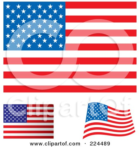 Royalty-Free (RF) Clipart Illustration of a Digital Collage Of Flat, Shaded And Waving USA Flags by michaeltravers