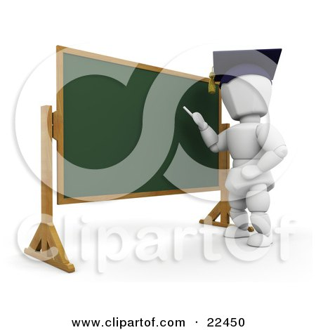 Clipart Illustration of a White Character Teacher Wearing A Graduation Cap, Standing In Front Of A Chalkboard And Teaching A Class by KJ Pargeter