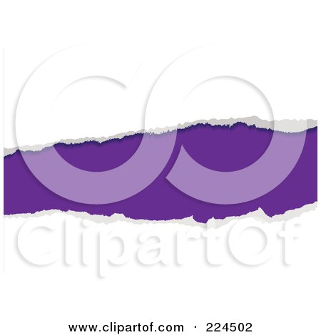 Royalty-Free (RF) Clipart Illustration of a Horizontal White Tearing Piece Of Paper Over Purple by michaeltravers