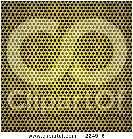 Royalty-Free (RF) Clipart Illustration of a Golden Circle Metal Grill Background Texture by michaeltravers