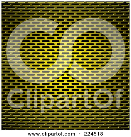Royalty-Free (RF) Clipart Illustration of a Golden Slotted Metal Grill Background Texture by michaeltravers
