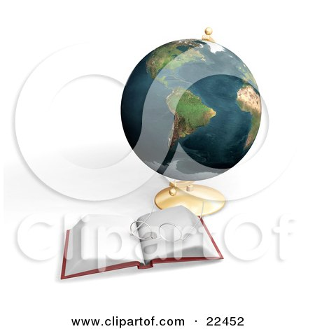 Clipart Illustration of a Pair Of Eyeglasses Resting On Top Of An Open Book In Front Of A Globe by KJ Pargeter
