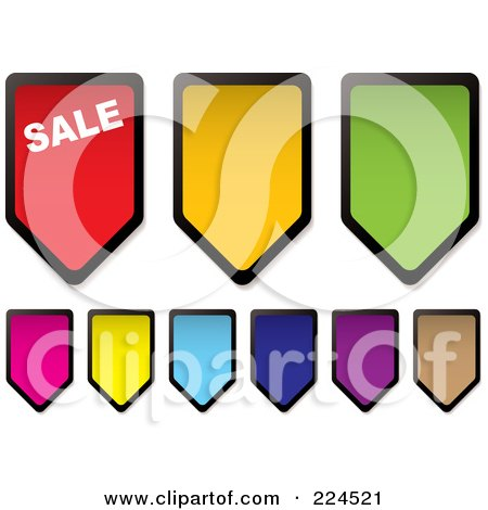Royalty-Free (RF) Clipart Illustration of a Digital Collage Of Colorful Price Tag Icons by michaeltravers