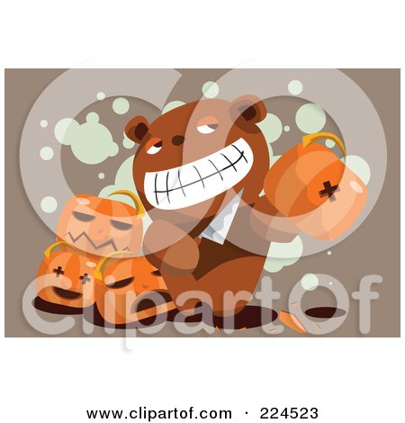 Royalty-Free (RF) Clipart Illustration of a Teddy Bear Holding A Knife And Pumpkin by mayawizard101
