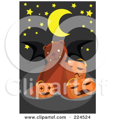 Royalty-Free (RF) Clipart Illustration of a Teddy Bear With Bat Wings And Pumpkins by mayawizard101