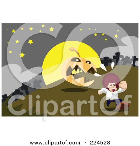 Royalty-Free (RF) Clipart Illustration of a Jackolantern Chasing A Boy In A Cemetery by mayawizard101