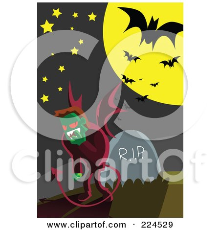 Royalty-Free (RF) Clipart Illustration of a Devil Standing By A Headstone In A Cemetery by mayawizard101