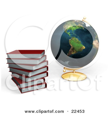 Clipart Illustration of Red School Library Books Stacked Beside A Globe by KJ Pargeter