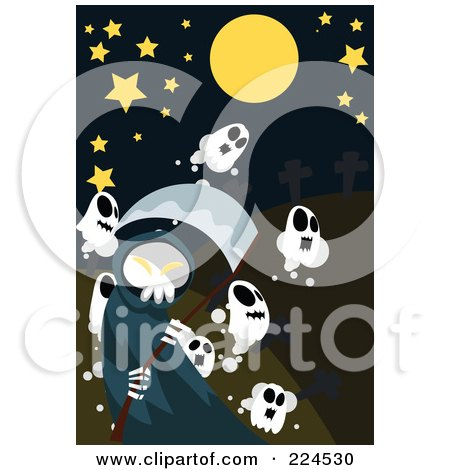 Royalty-Free (RF) Clipart Illustration of a Grim Reaper And Ghosts Under A Starry Sky by mayawizard101
