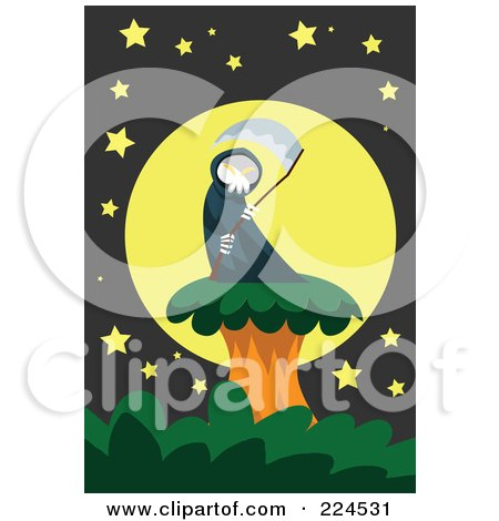 Royalty-Free (RF) Clipart Illustration of a Grim Reaper And Scythe On A Tree Against A Full Moon by mayawizard101