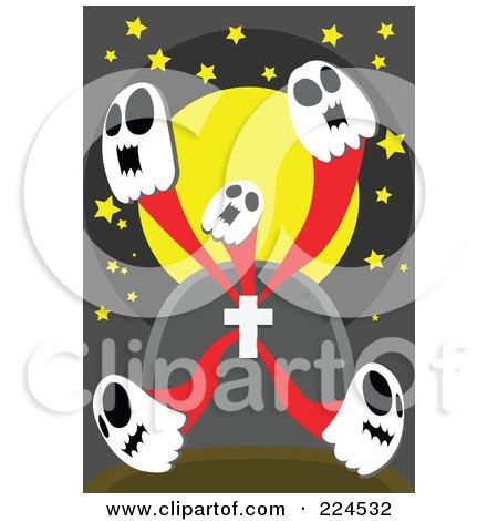 Royalty-Free (RF) Clipart Illustration of Five Skull Ghosts Emerging From A Tombstone by mayawizard101