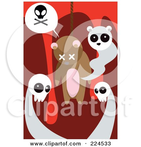 Royalty-Free (RF) Clipart Illustration of Ghosts Around A Dead Hanged Teddy Bear by mayawizard101