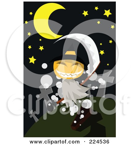 Royalty-Free (RF) Clipart Illustration of a Pumpkin Ghost In A Cemetery by mayawizard101