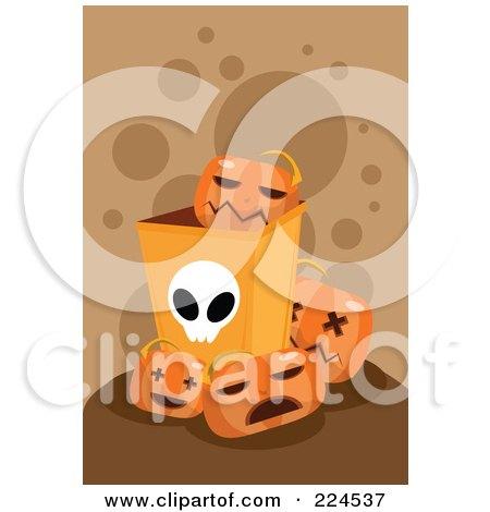 Royalty-Free (RF) Clipart Illustration of a Halloween Bin With Jackolanterns by mayawizard101