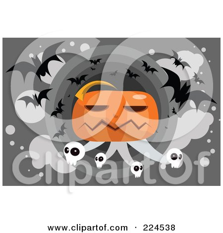 Royalty-Free (RF) Clipart Illustration of a Giant Jackolantern With Skulls And Vampire Bats by mayawizard101