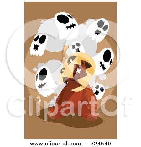 Royalty-Free (RF) Clipart Illustration of a Jackolantern On A Teddy Bear's Head Under Ghosts by mayawizard101