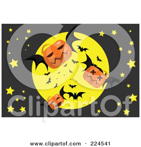Royalty-Free (RF) Clipart Illustration of Jackolantern Bats Flying In Front Of A Full Moon by mayawizard101