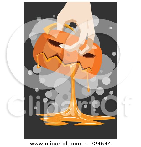 Royalty-Free (RF) Clipart Illustration of a Hand Carrying A Gooey Pumpkin by mayawizard101