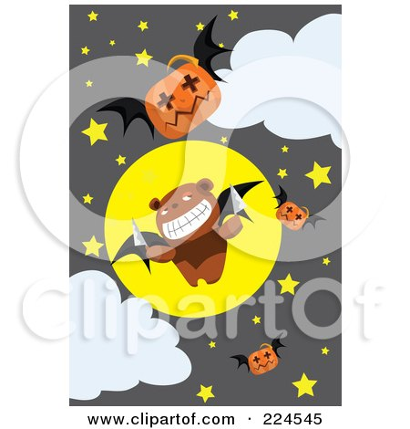 Royalty-Free (RF) Clipart Illustration of a Teddy Bear Bat With Knives And Jackolanterns In A Night Sky by mayawizard101