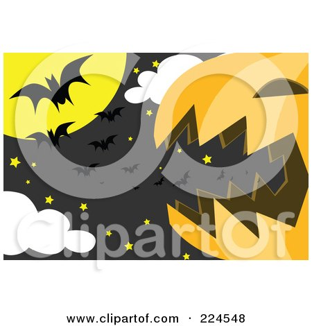 Royalty-Free (RF) Clipart Illustration of a Giant Jackolantern With Stars And Vampire Bats In The Moonlight by mayawizard101