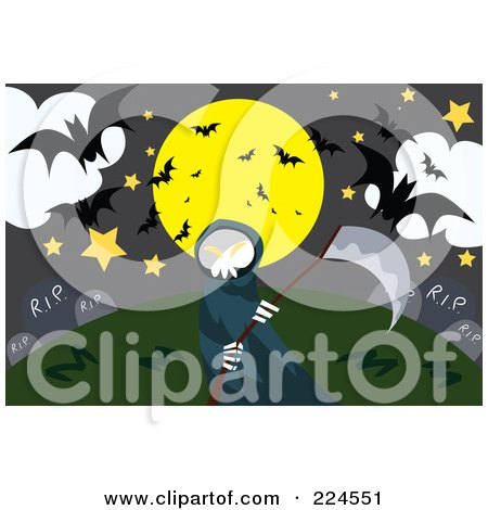 Royalty-Free (RF) Clipart Illustration of a Grim Reaper Holding A Scythe In A Cemetery Full Of Bats by mayawizard101