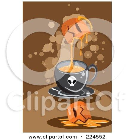 Royalty-Free (RF) Clipart Illustration of a Pumpkin Dripping Goo Into A Skull Mug by mayawizard101