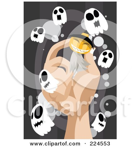 Royalty-Free (RF) Clipart Illustration of a Hand Holding A Pumpkin Ghost Surrounded By Little Ghosts by mayawizard101
