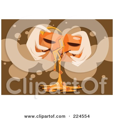 Royalty-Free (RF) Clipart Illustration of a Hand Breaking Open A Gooey Pumpkin by mayawizard101