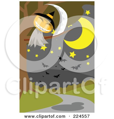 Royalty-Free (RF) Clipart Illustration of a Jackolantern Ghost With A Scythe Above A Path by mayawizard101