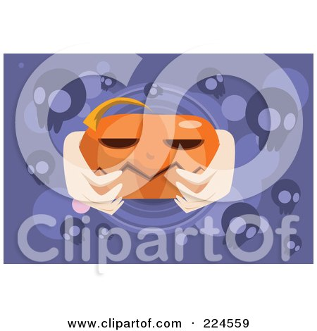 Royalty-Free (RF) Clipart Illustration of Hands Holding A Jackolantern On Purple With Skulls by mayawizard101