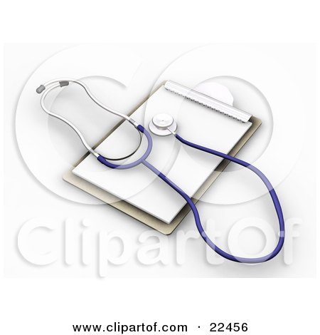 Clipart Illustration of a Blue And Silver Veterinarian Or Doctor Stethoscope On Top Of Blank Pages On A Clipboard by KJ Pargeter