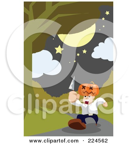 Royalty-Free (RF) Clipart Illustration of a Man With A Pumpkin Head, Running Down A Path With A Knife by mayawizard101