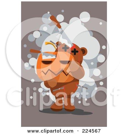 Royalty-Free (RF) Clipart Illustration of a Bloody Teddy Bear Carrying A Jackolantern by mayawizard101
