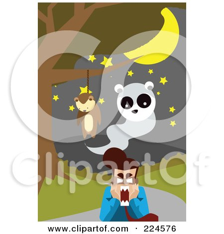 Royalty-Free (RF) Clipart Illustration of a Hanging Teddy Bear And Ghost Above A Screaming Man by mayawizard101